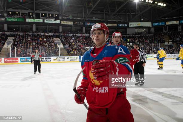 Grigory Denisenko and Alexander Romanov of Team Russia celebrate a first period goal against the Team Sweden at Prospera Place on December 18 2018 in...