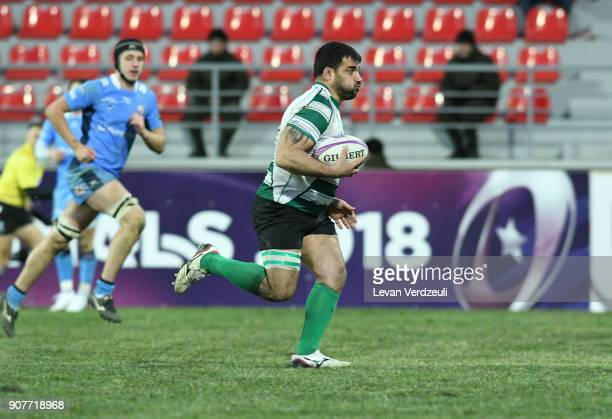 Grigory Tsnobiladze of Krasny Yar breaks line to score during the European Rugby Challenge Cup match between Krasny Yar and London Irish at Avchala...