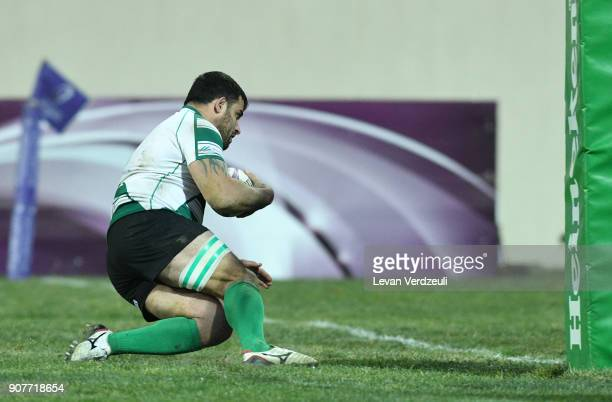 Grigory Tsnobiladze of Krasny Yar scores during the European Rugby Challenge Cup match between Krasny Yar and London Irish at Avchala Stadium on...