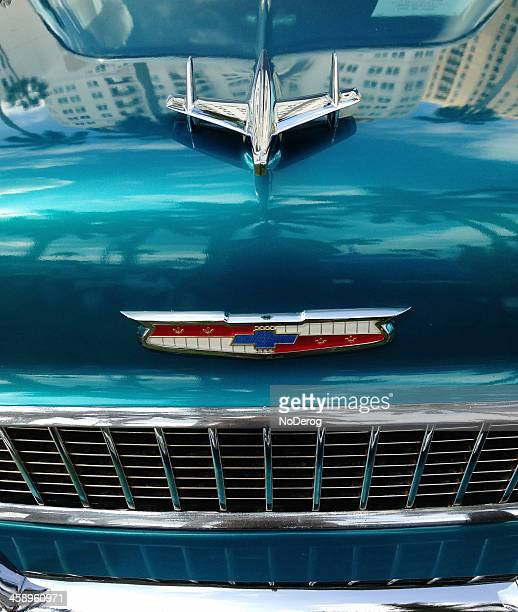 grill and hood ornament of 1955 chevy belair - hood ornament stock pictures, royalty-free photos & images