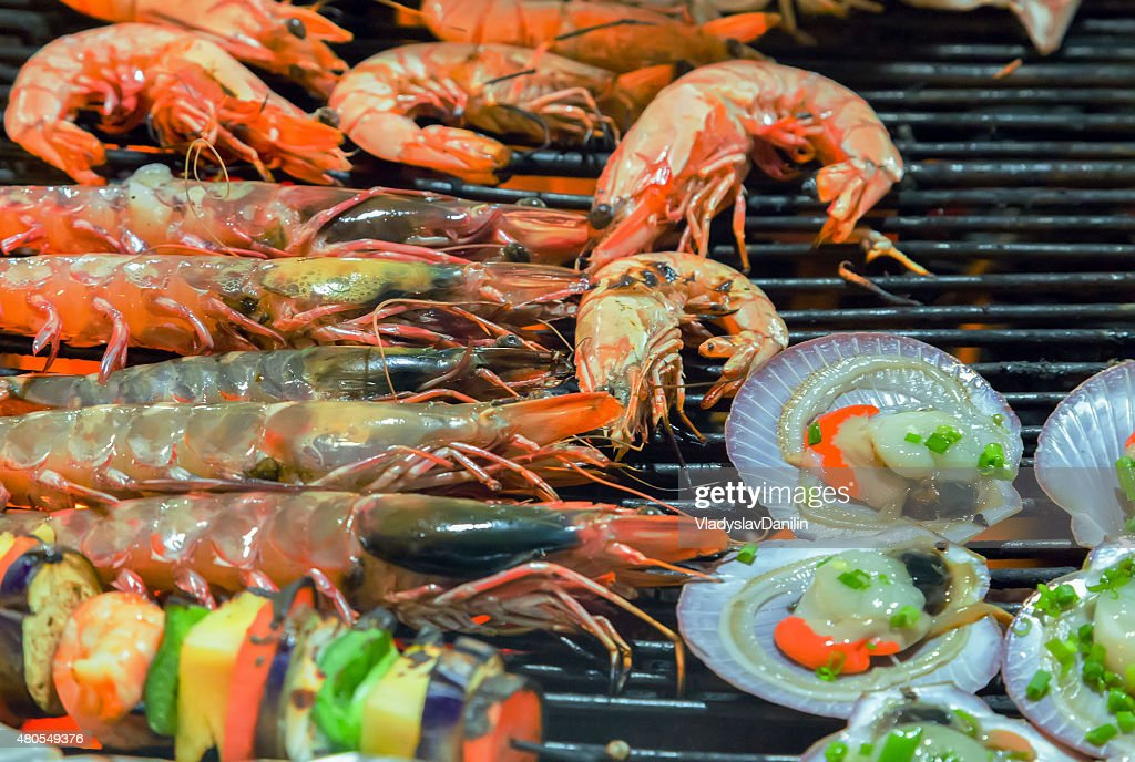 Grill cooking seafood top view : Stock Photo