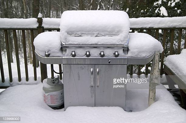 grill in snow - gas tank stock photos and pictures