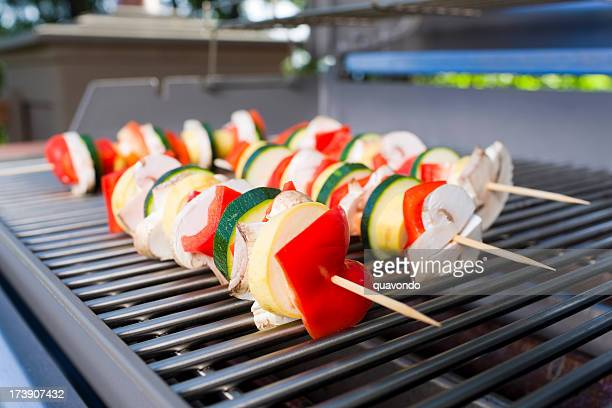BBQ Grill with Close Up of Organic Vegetable Skewers, Copyspace