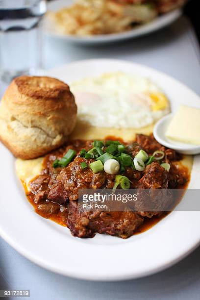 grillades and grits - gravy stock photos and pictures
