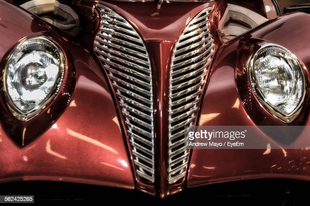 grille and headlights of collectors car - build grill stock photos and pictures