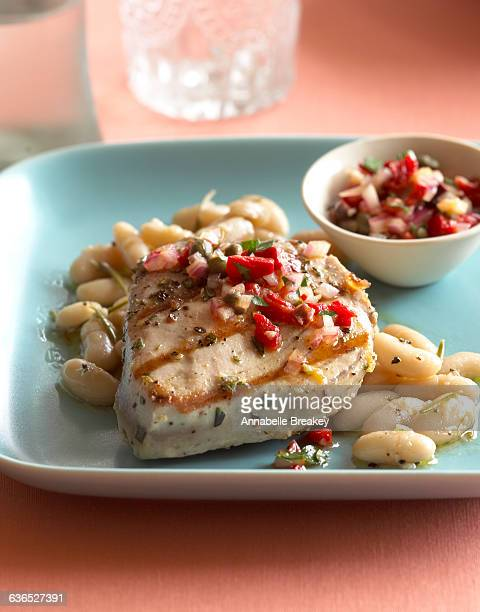 Grilled Ahi Tuna with Cannellini Beans