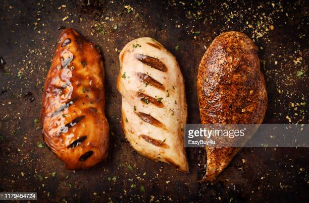 grilled and roast chicken breast with seasoning - chicken meat stock pictures, royalty-free photos & images