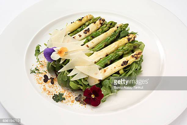 grilled asparagus on purslane