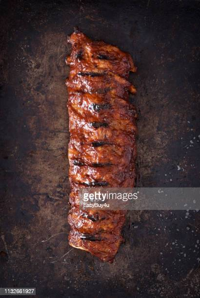 grilled barbecue pork ribs - rack stock pictures, royalty-free photos & images