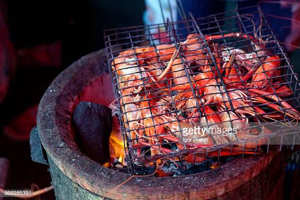 Grilled BBQ prawns (shrimps)