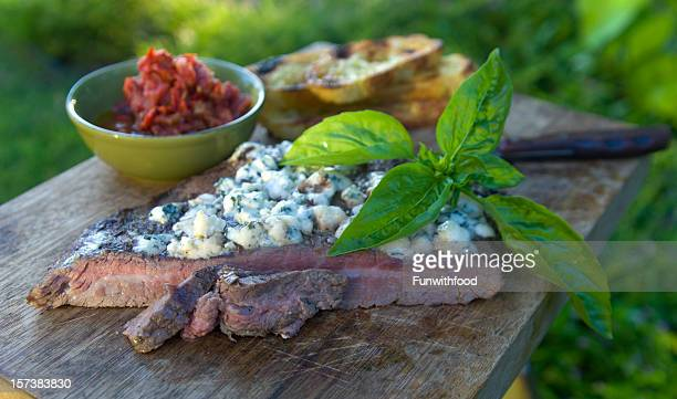 Grilled Beef Barbeque Flank Steak & Gorgonzola Blue Cheese Picnic Sandwich