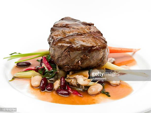 Grilled Beef  Filet Mignon with Beans