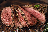 Grilled beef steaks with spices.