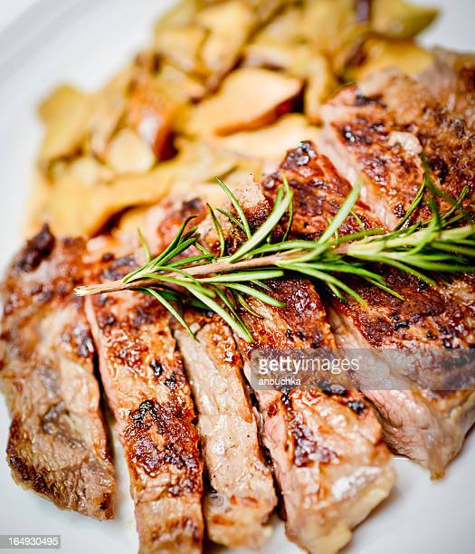 Grilled Beef with Mushrooms on a plate