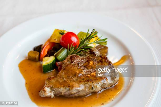 grilled beef with vegetables - zermatt stock pictures, royalty-free photos & images