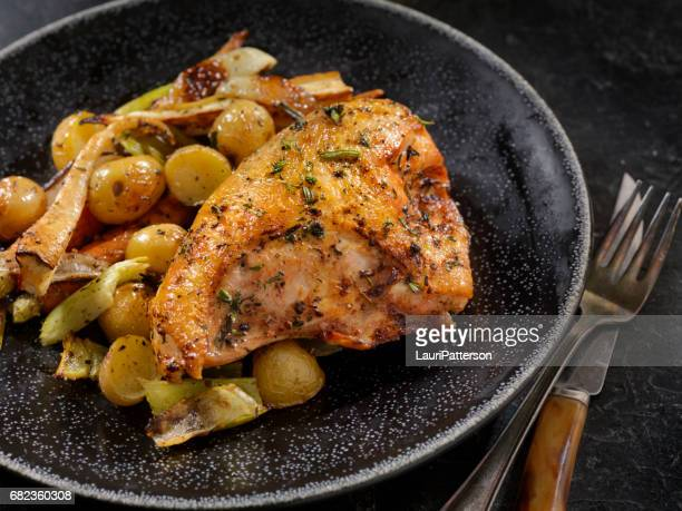 grilled bone in chicken breasts with vegetables - bones stock photos and pictures