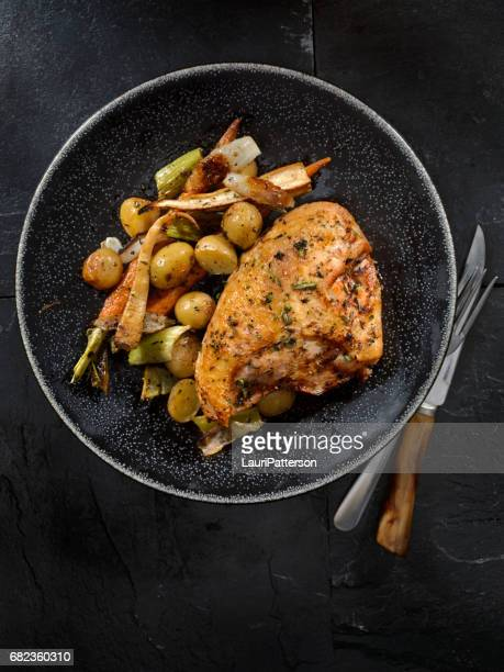 Grilled Bone in Chicken Breasts With Vegetables
