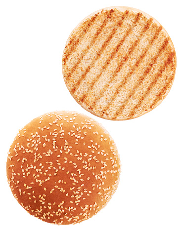 Grilled burger bun isolated on white background. 587226932