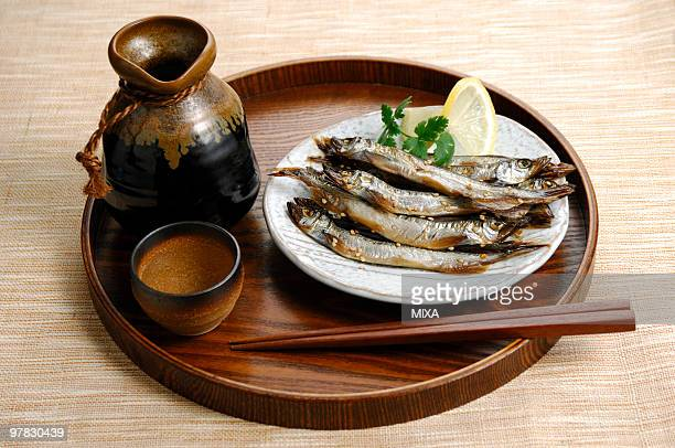 Grilled capelin and shochu