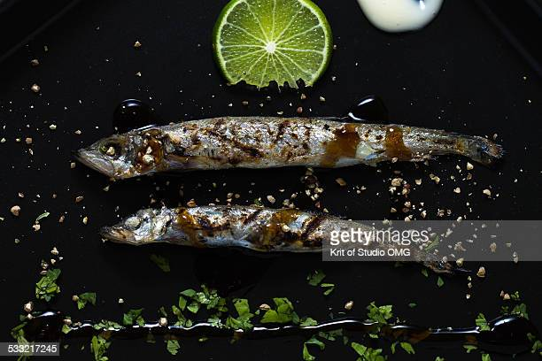 Grilled capelin with sweet sauce