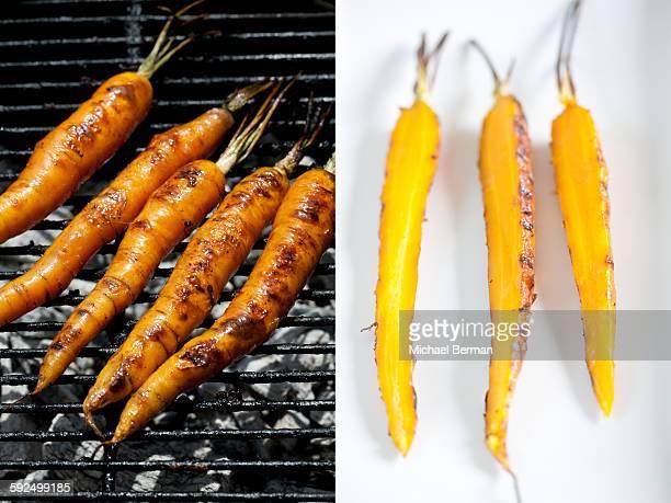 grilled carrots (2 images) - aliment grillé au charbon de bois photos et images de collection
