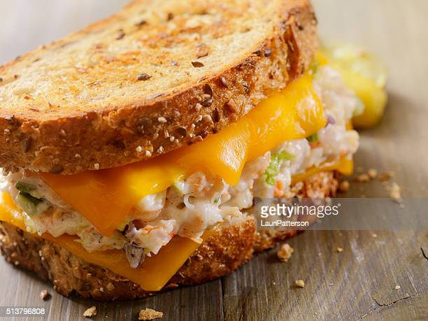 grilled cheese seafood salad sandwich - comfort food stock pictures, royalty-free photos & images