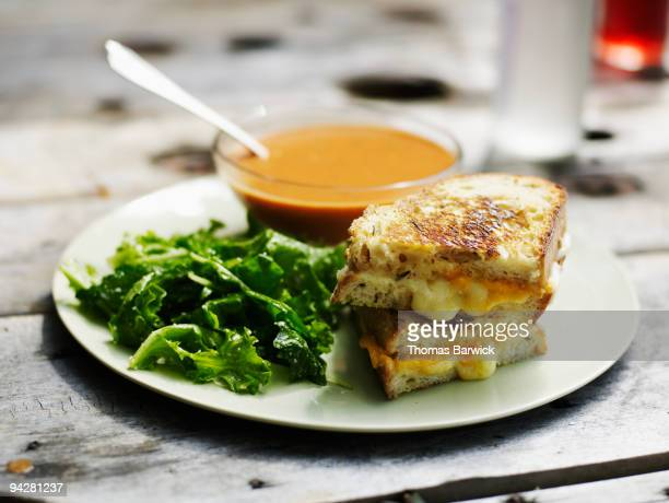 Grilled cheese with mixed greens and tomato bisque