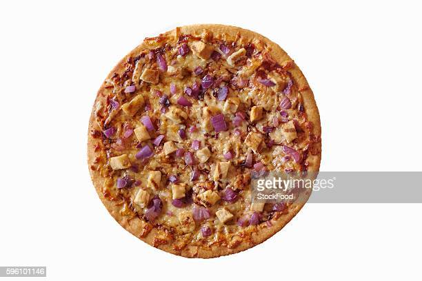 Grilled Chicken and Red Onion Pizza; From Above on a White Background