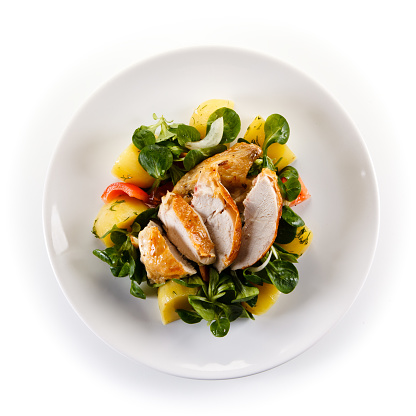 Grilled chicken breast and vegetables 1056419208