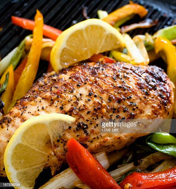 grilled  chicken breast - low carb diet stock photos and pictures