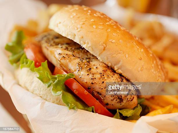 Grilled Chicken Burger with French Fries