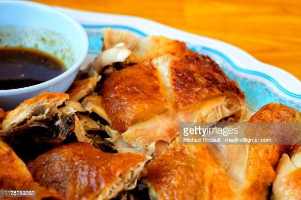 grilled chicken chopped in a plate - poulet grillé photos et images de collection