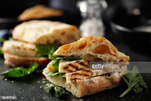 grilled chicken ciabetta  sandwich - sandwich stock pictures, royalty-free photos & images
