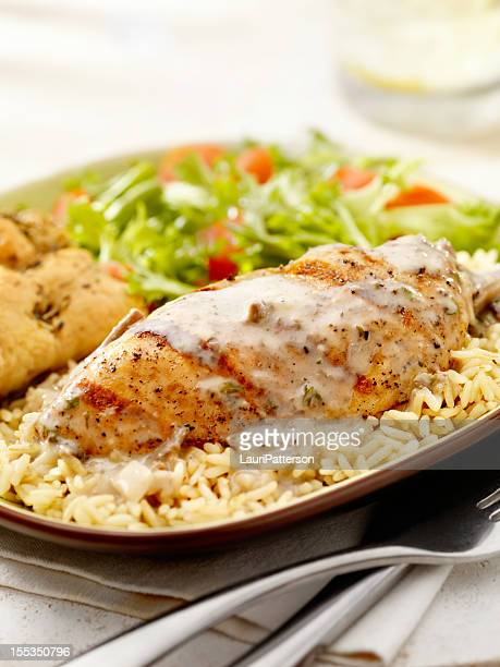 grilled chicken in a mushroom sauce - bechamel sauce stock photos and pictures