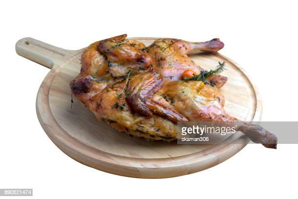 grilled chicken on white background
