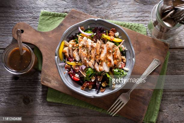 grilled chicken salad - salad stock pictures, royalty-free photos & images