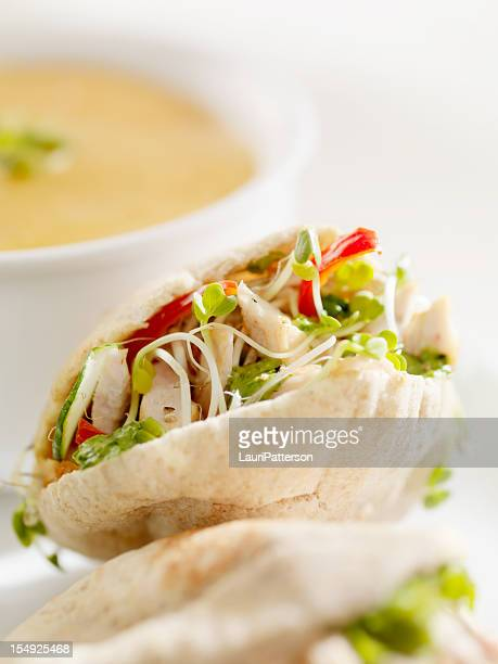 grilled chicken sandwich in mini pita's - tortilla flatbread stock photos and pictures