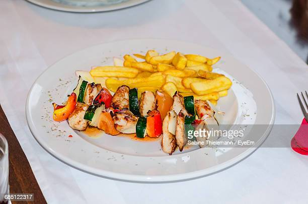 Grilled Chicken Shashlik Served With French Fries