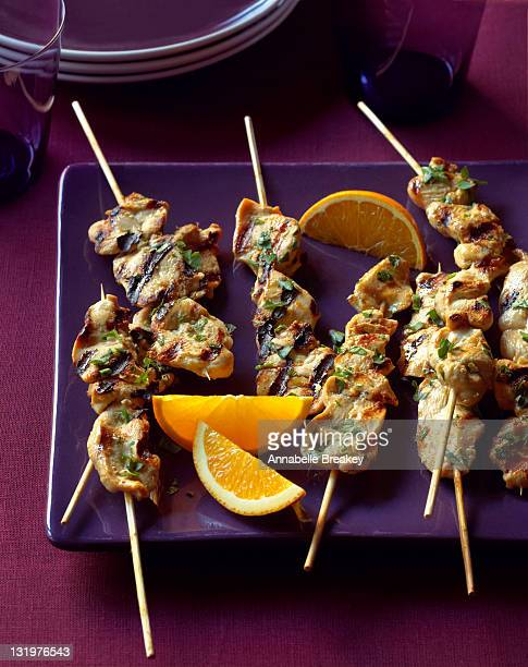 Grilled Chicken Skewers with Orange Slices