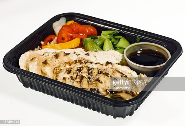 grilled chicken teriyaki dinner - box container stock pictures, royalty-free photos & images