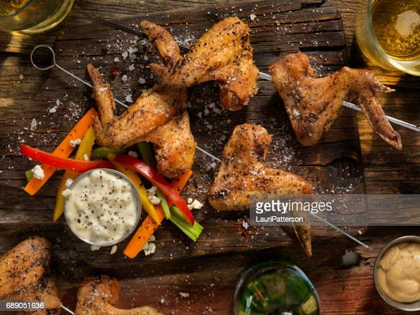 Grilled Chicken Wings With Vegetables