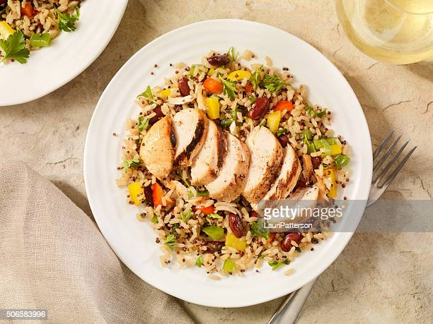 grilled chicken with quinoa and brown rice salad - meal stock pictures, royalty-free photos & images