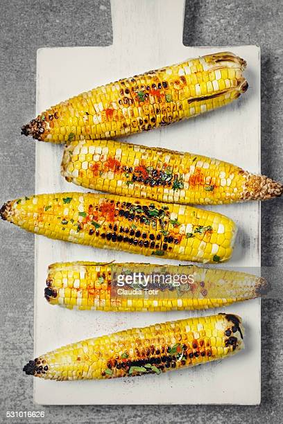 grilled corn - corn on the cob stock pictures, royalty-free photos & images
