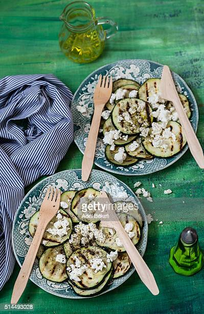 grilled courgette with feta cheese
