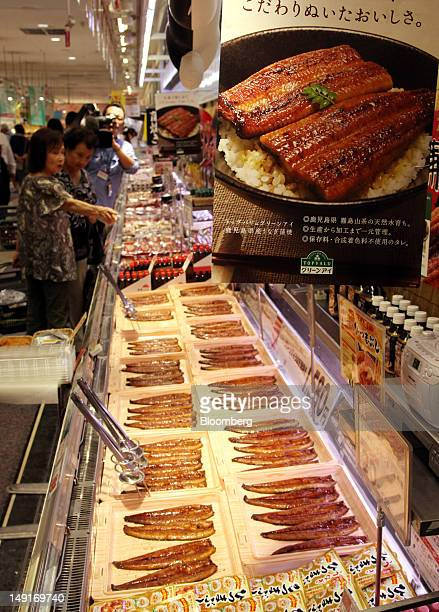 Grilled eels from Kagoshima Prefecture are displayed for sale at an Aeon Co. Supermarket in Tokyo, Japan, on Tuesday, July 24, 2012. The U.S....
