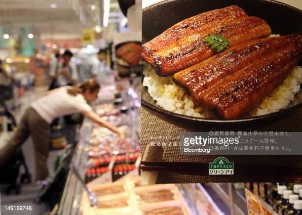 Grilled eels from Kagoshima Prefecture are displayed for sale at an Aeon Co supermarket in Tokyo Japan on Tuesday July 24 2012 The US government is...