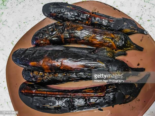 grilled egg plant - khanh ngo stock pictures, royalty-free photos & images