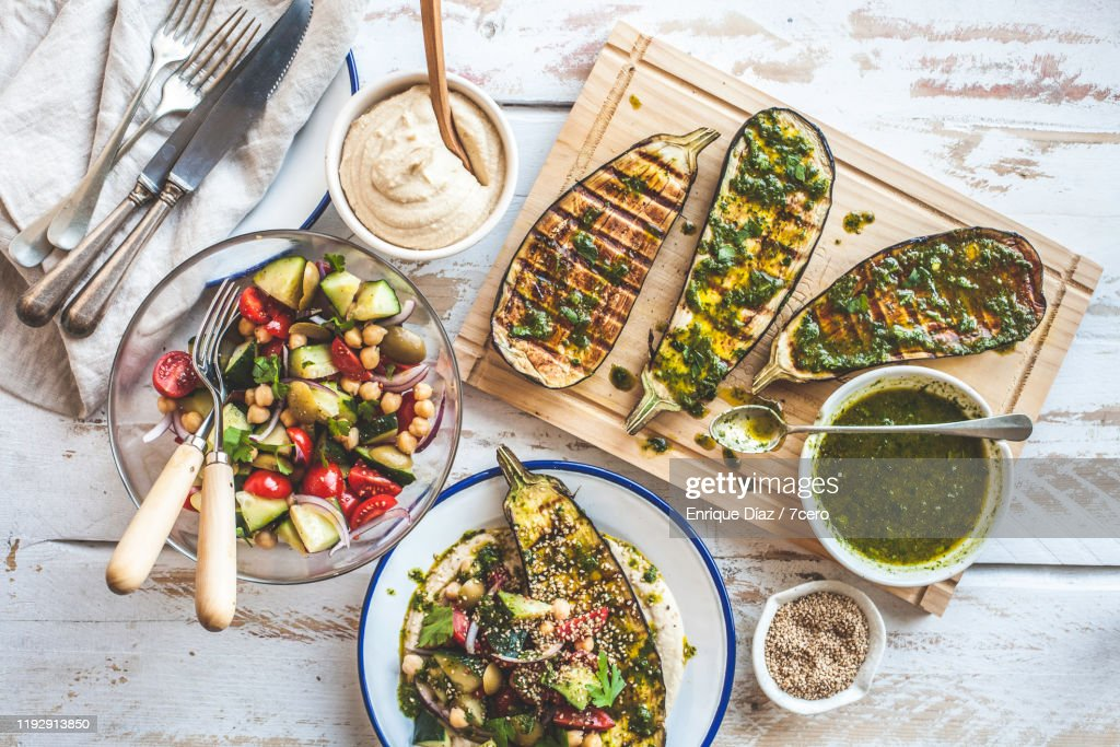 Grilled Eggplant Healthy Dinner Party : Stockfoto