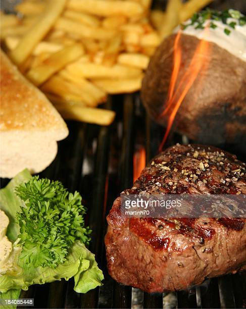 grilled fillet beef steak with typical Steakhouse supplements