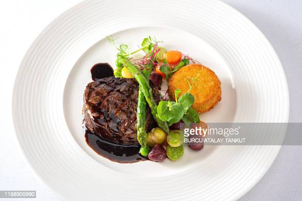 grilled fillet mignon - french food stock pictures, royalty-free photos & images